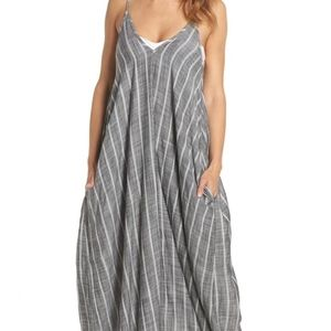NWOT ELAN Gray & White Striped Maxi Dress Small